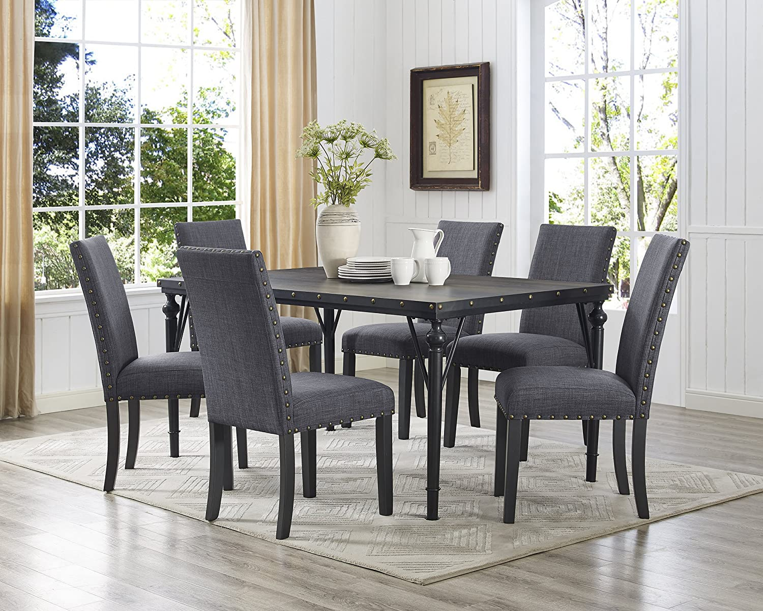 Roundhill Furniture Biony 7-Piece Espresso Wood Dining Set with Gray Fabric Nail head Chairs,