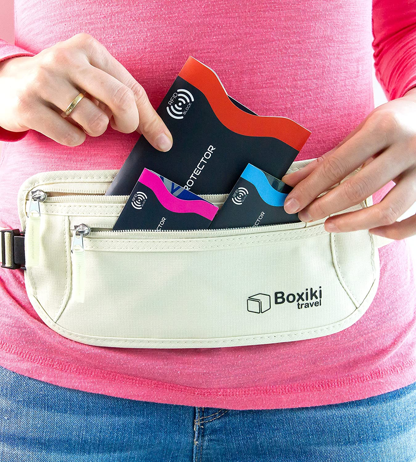 RFID Blocking Sleeves, Set with Color Coding. Identity Theft Prevention RFID Credit Card Holders by Boxiki Travel (Set of 12 Credit Card Protector Sleeves + 3 Passport Holders) (Navy Blue): Office Products