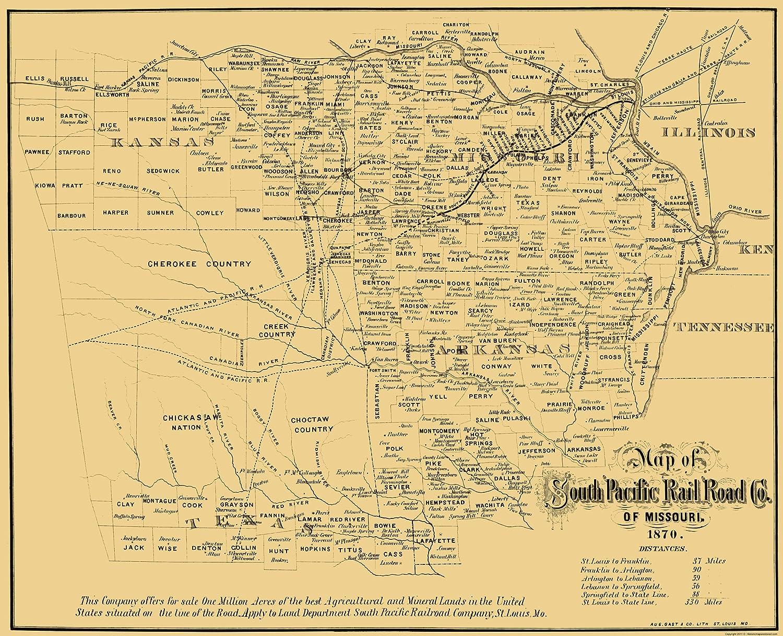 Amazon.com: Old Railroad Map - Missouri Southern Pacific Railroad Co ...