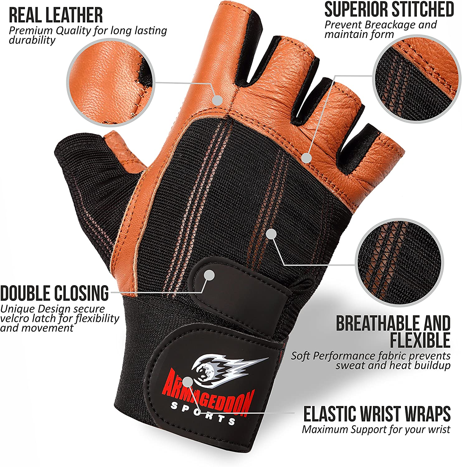 Real Leather Fitness Gloves for Men or Women with Wrist Wraps Perfect for Sport Fitness Gym