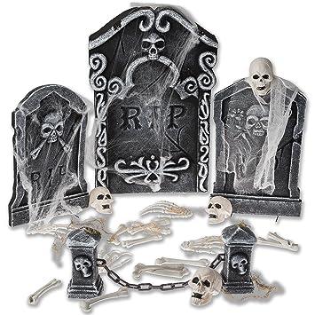 prextex halloween graveyard set for spookiest halloween decoration includes spider webbing mini skulls bones