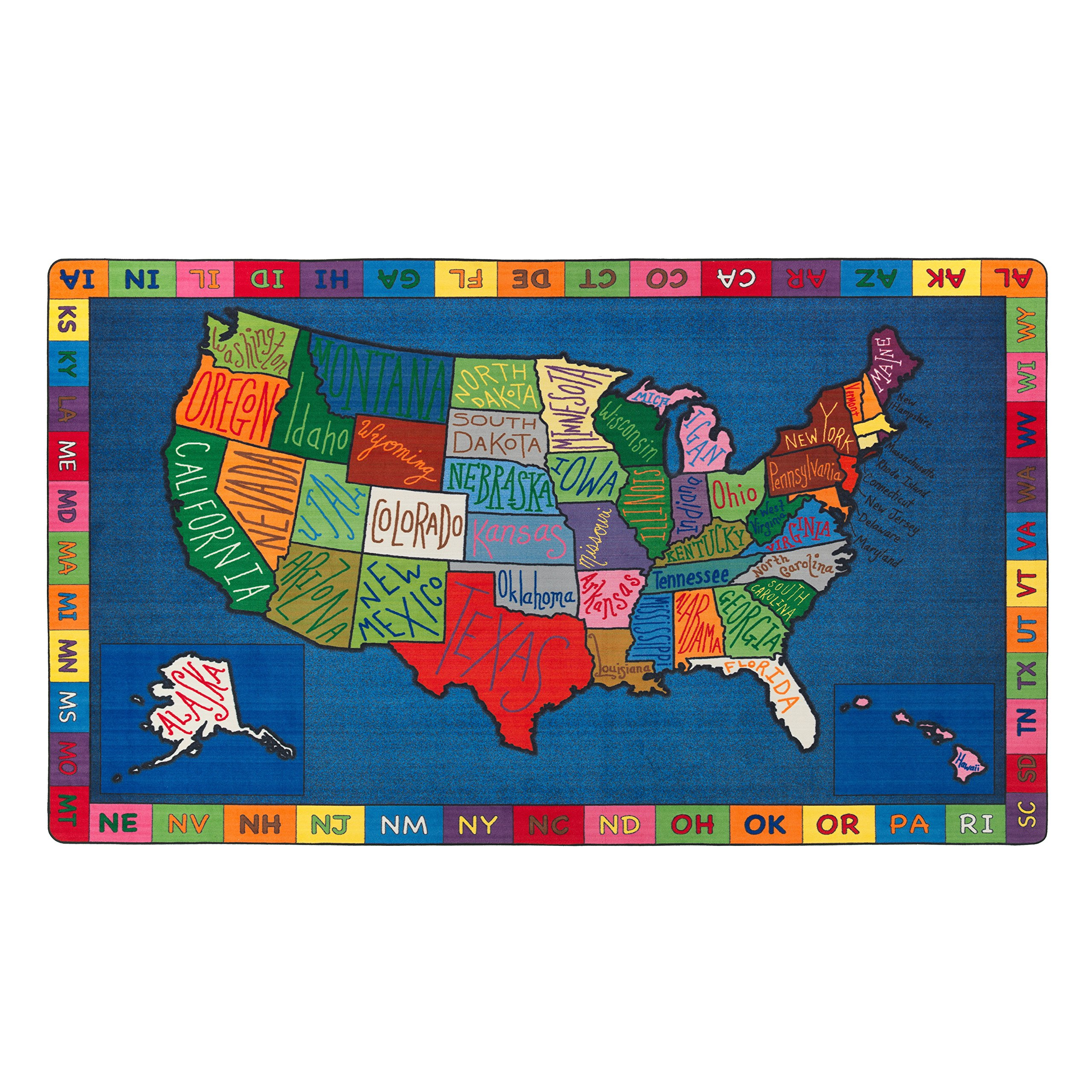 Flagship Carpets FE262-58A My America Doodle Map Rug, Teaching Tool for Names and Locations of the States, Kids School, 10'9'' x 13'2'', 129'' Length, 158'' Width, Blue/Multi-Color by Flagship Carpets