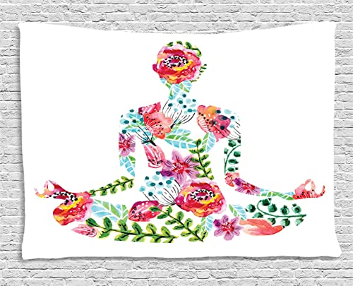 Ambesonne Yoga Tapestry, Silhouette in Lotus Pose with Blooming Watercolor Flowers Green Leaves Body and Mind, Wide Wall Hanging for Bedroom Living Room Dorm, 60 X 40 , Blue Pink