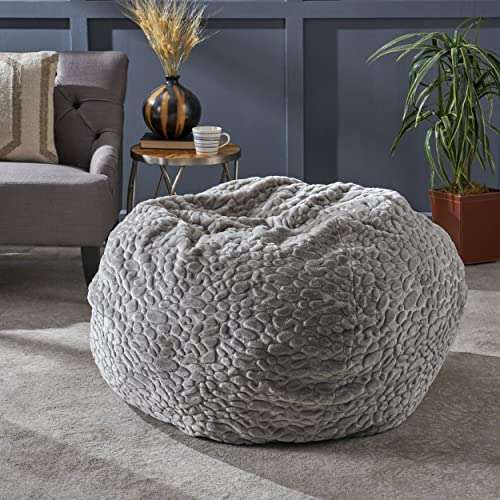Christopher Knight Home Laraine Furry Glam Grey Pebble Pattern Faux Fur 3 Ft. Bean Bag