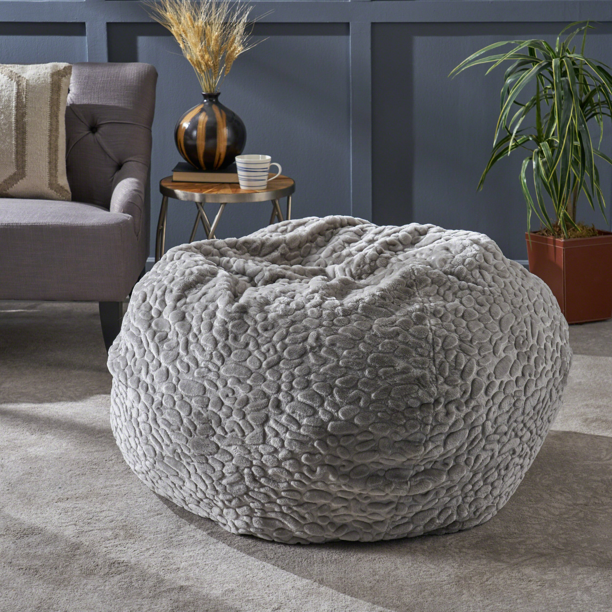Christopher Knight Home Laraine Furry Glam Grey Pebble Pattern Faux Fur 3 Ft. Bean Bag by Christopher Knight Home