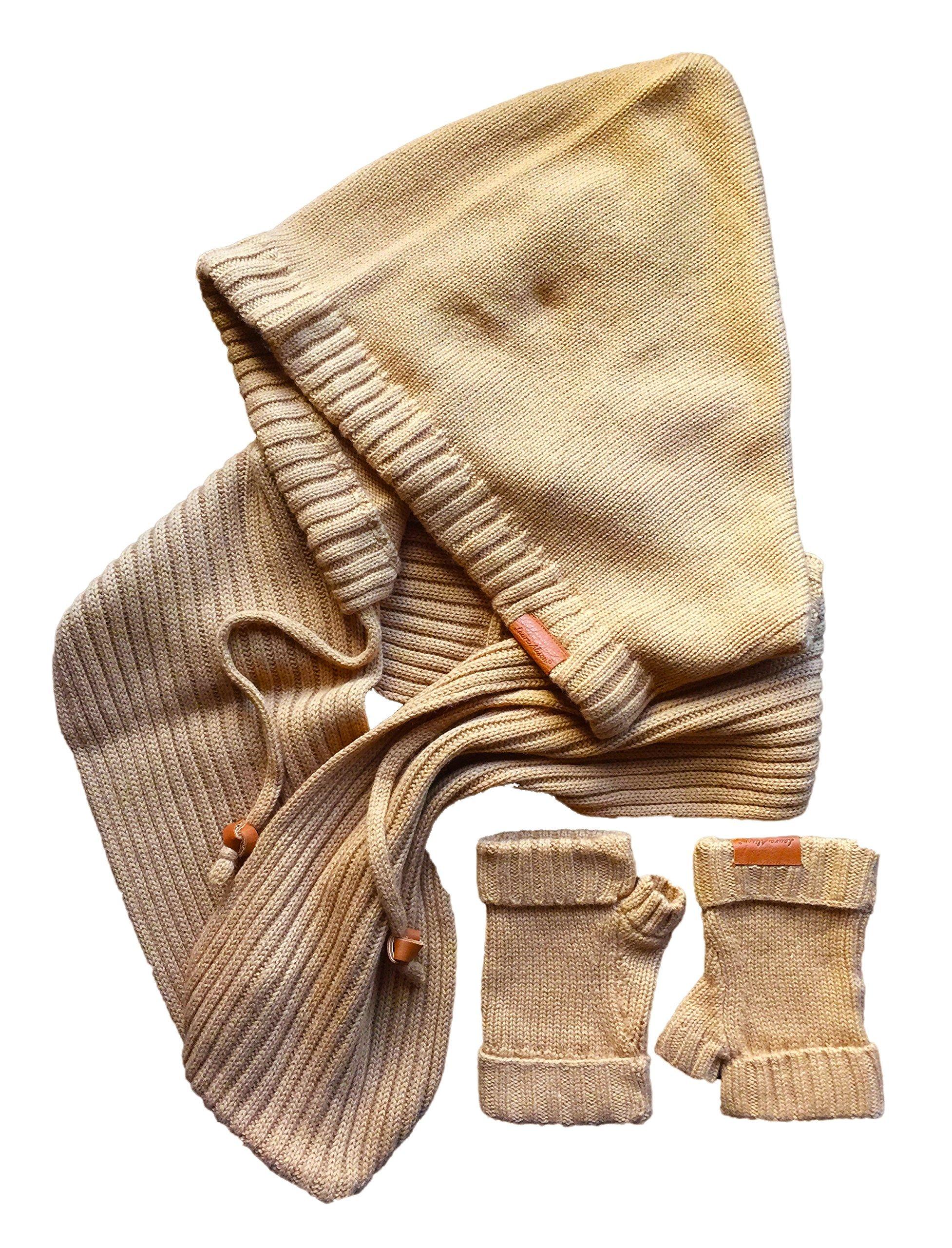 Laura Alison Hooded Infinity Scarf and Fingerless Gloves Gift Set, Koi/Camel