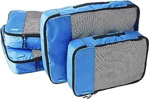 AmazonBasics - Bolsas de equipaje (2 medianas, 2 grandes; 4 unidades), Azul