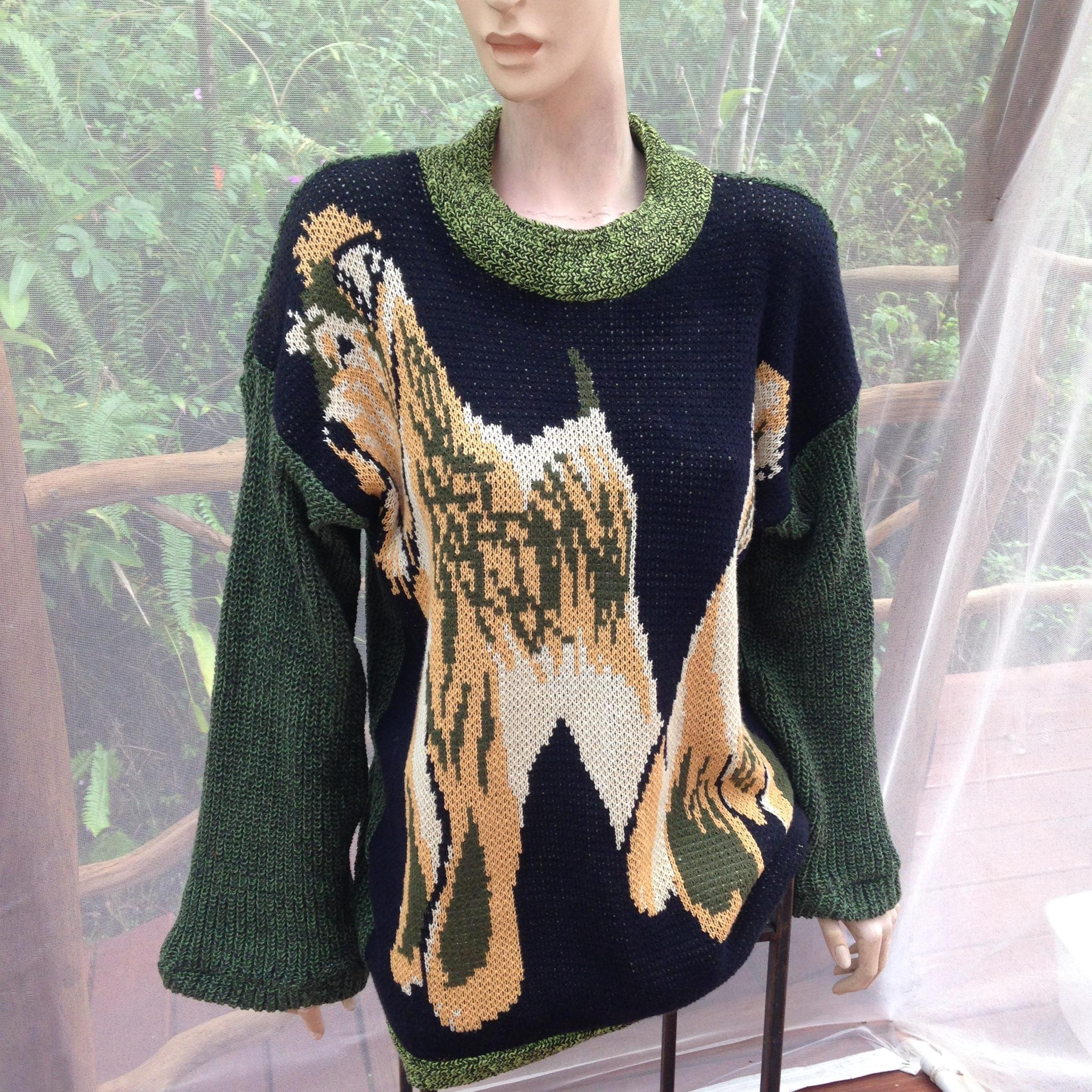 Cotton knit sweater with miniature schnauzers, oversize sweater, cotton knit pullover tunic