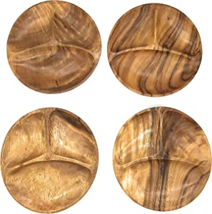 SDS Home Imports Acacia Wood Round Trays Tortillas Hawaiian Style Latin Style 2 Pack and 4 Pack (4)