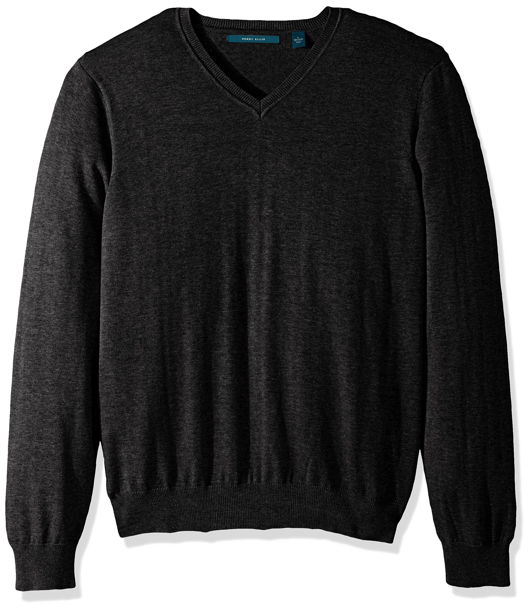 Perry Ellis Men's Classic Solid V-Neck Sweater, Charcoal Heather-4BFG7247, Extra Large