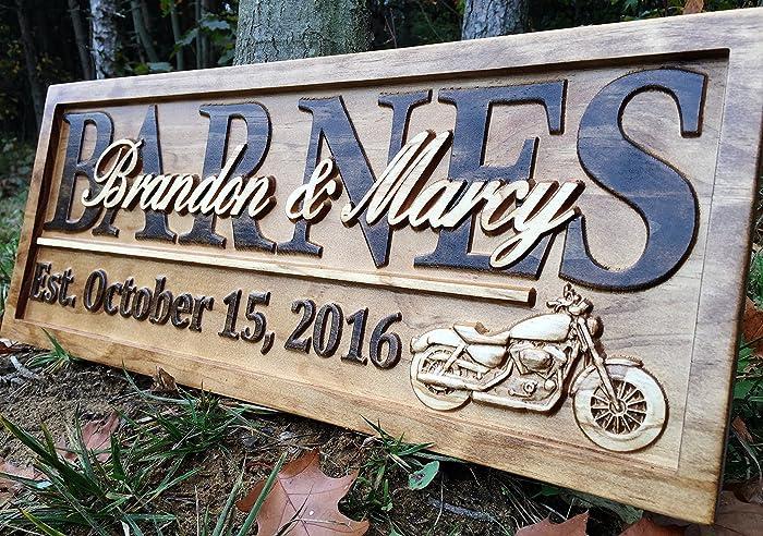 Amazoncom Personalized Motorcycle Gifts Motorcycle Wedding Sign