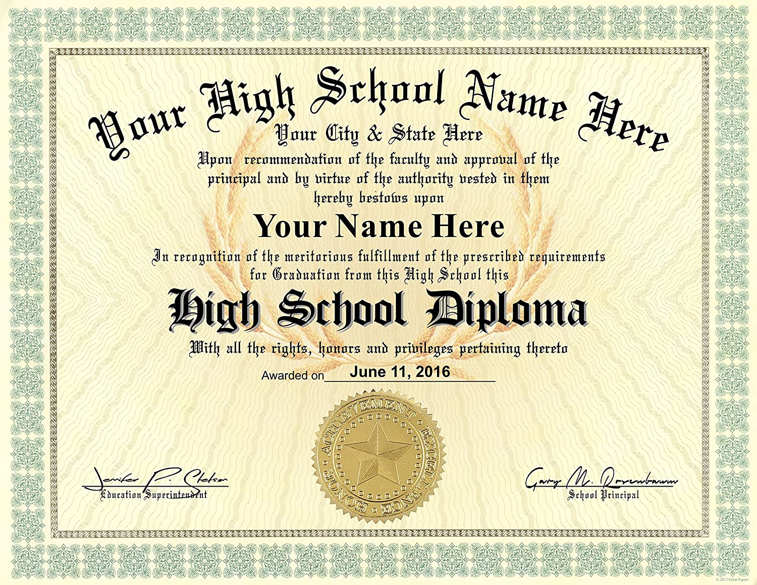 Amazon.com : High School Diploma Custom Printed with Your Info - Premium  Quality - 8.5 by 11 inches : Office Products