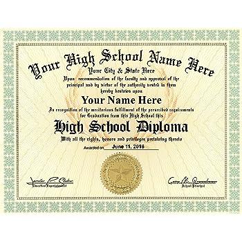 Amazon.com : High School Diploma Custom Printed with Your Info ...