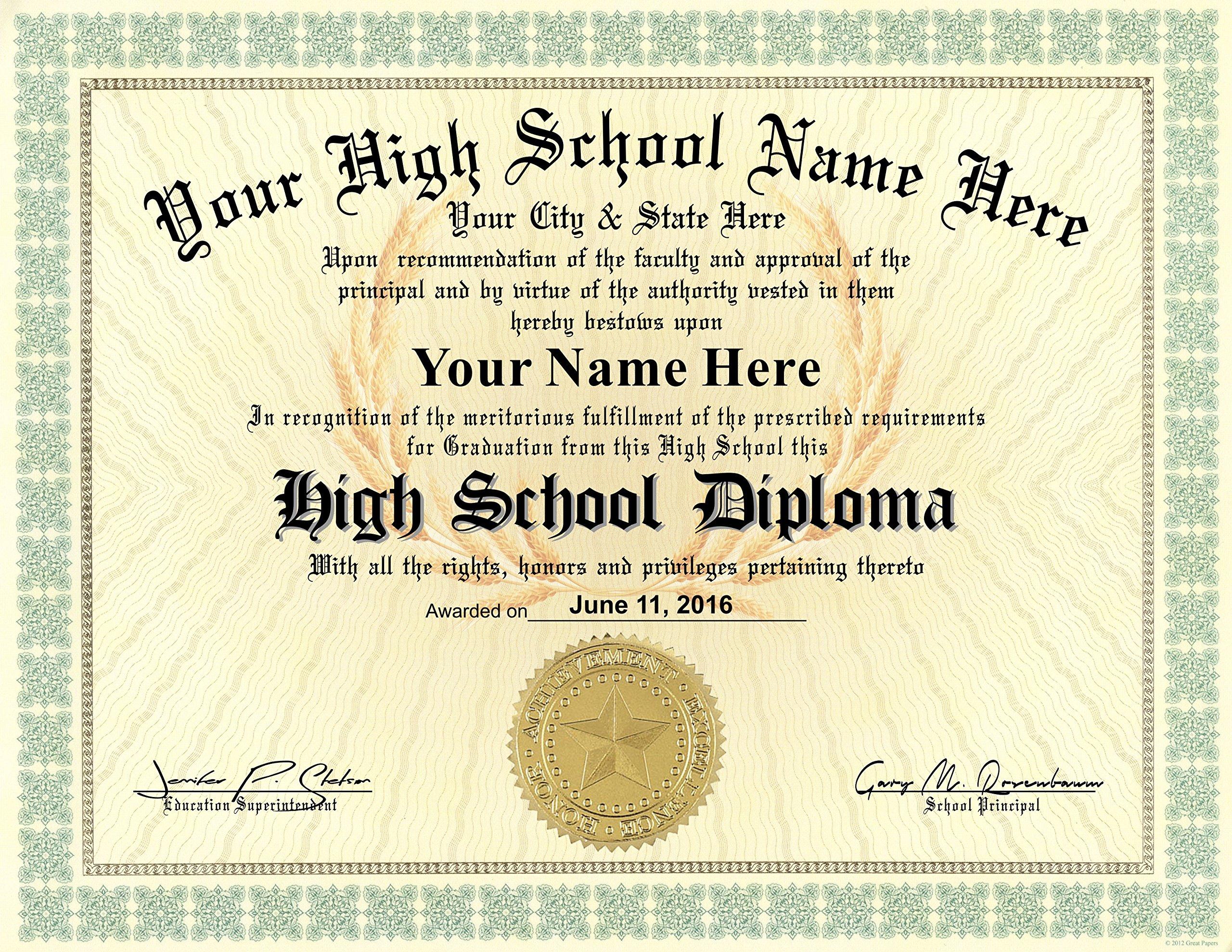 High School Diploma Custom Printed with Your Info - Premium Qaulity