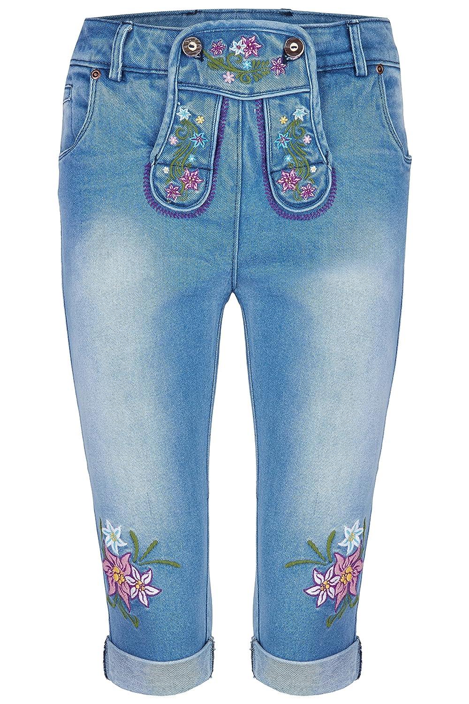 Damen Stretch Trachtenjeans Jule (Gr. 34-48) Kniebund Jeans mit bunten Stickereien