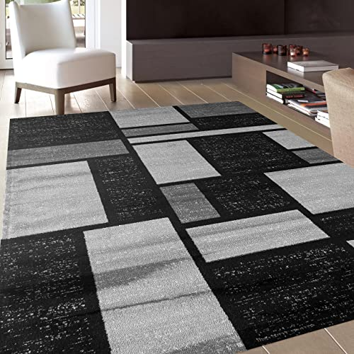 Contemporary Modern Boxes Design Gray Soft 5 3 x 7 3 Indoor Area Rug