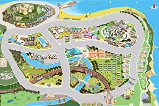 Tiger Moon Grand Prix On The Sea Large Vinyl Play Mat With Car Race Track for Children (150cm x 100cm)