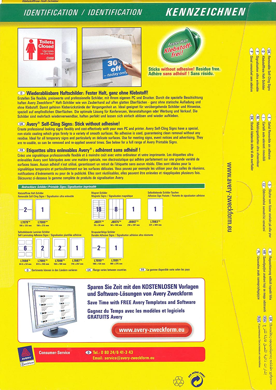 AVERY Zweckform L7080-10 Klebstofffreie Haftschilder 10 St/ück, 190 x 275 mm, beschichtet, matt, 10 Blatt wei/ß