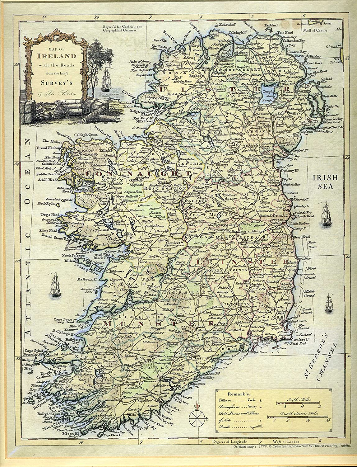 Map Of Ireland Roads.Amazon Com Map Of Ireland With The Roads From The Latest Survey S