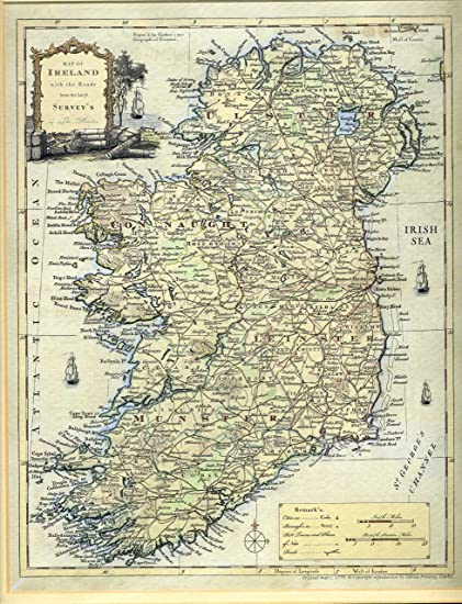 Map Of Ireland With Roads.Amazon Com Map Of Ireland With The Roads From The Latest Survey S