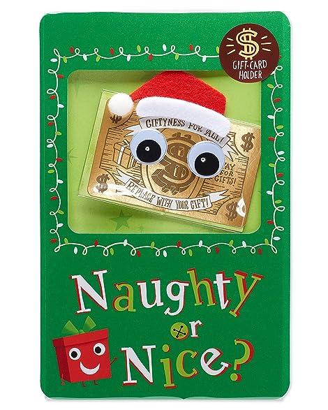 american greetings naughty or nice gift card holder christmas card with sound - Naughty Or Nice Christmas Card