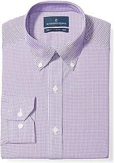 Blue Blu 14.5 Collo 34 Manica Buttoned Down Tailored Fit Spread-Collar Solid Non-Iron Dress Shirt Camicia