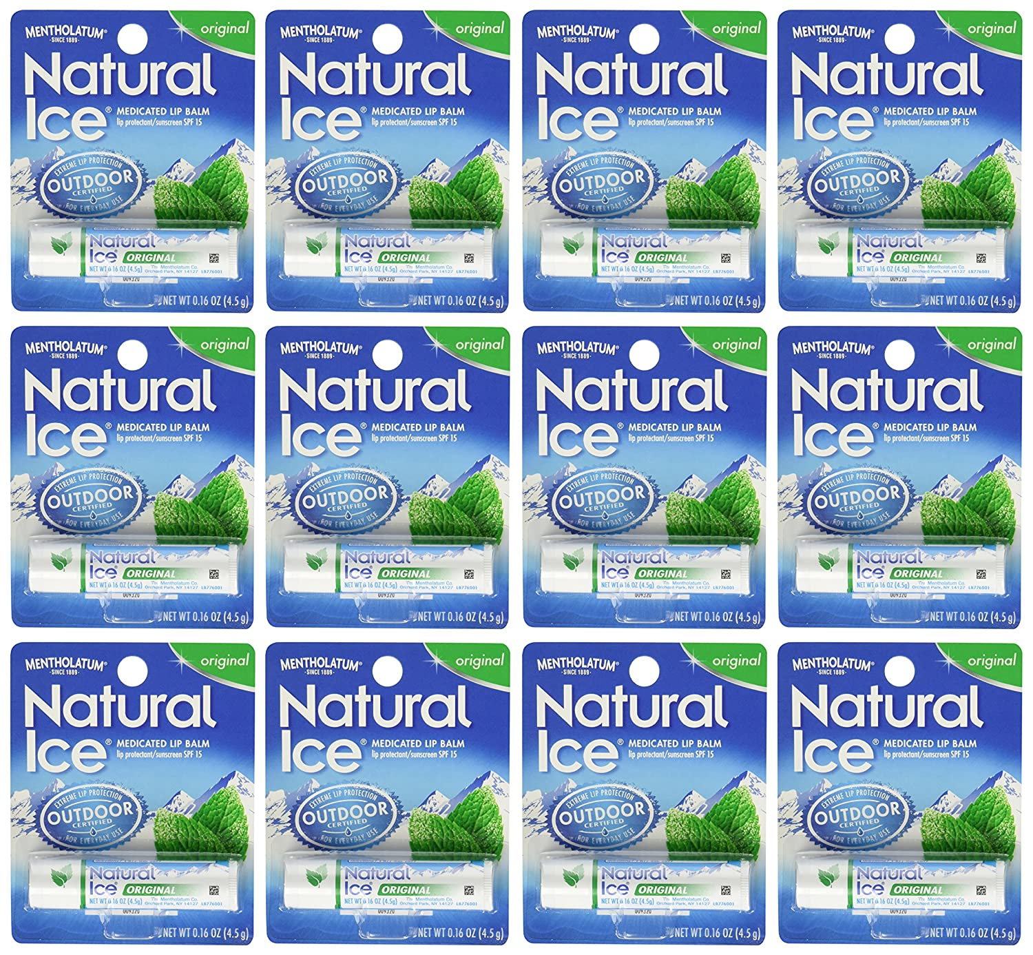 Mentholatum Natural Ice Medicated Lip Protectant Sunscreen, 12 Count Everready First Aid MEN000041-X12