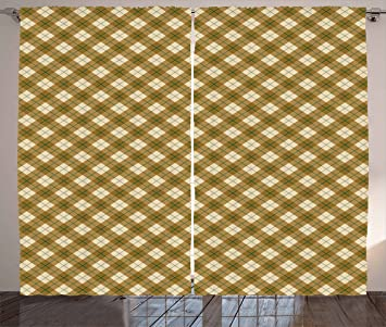 Ambesonne Plaid Curtains Diagonal Pattern In Browns With A Green Stripe Detail Retro Style