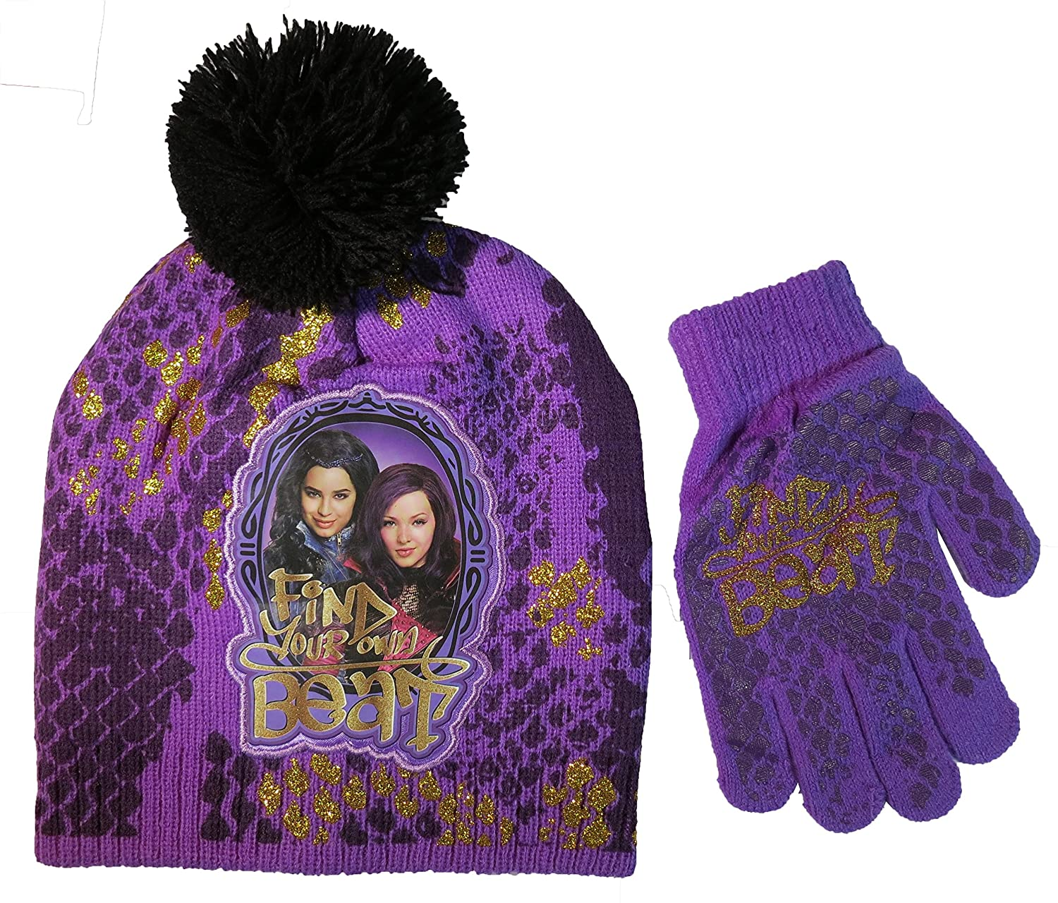 Disney Descendants Girls Purple Beanie Hat and Gloves Set - Size 4-14 [4013]