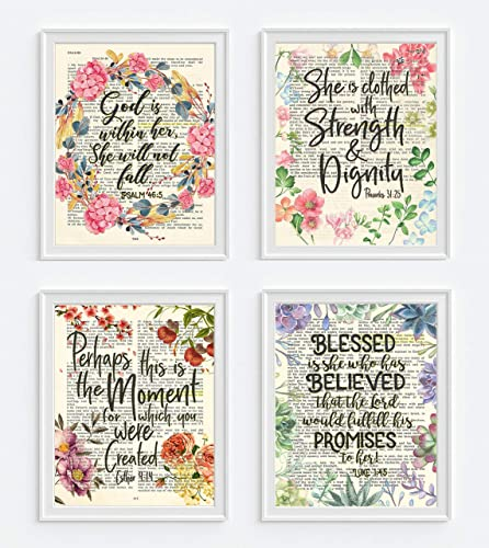 Psalm 46:5, Proverbs 31:25, Esther 4:14, Luke 1:45 Christian Art Prints for Her, Set of 4, Unframed, Bible Verse Scripture Wall Decor Poster, 8x10 Inches best gifts for Christian moms