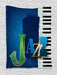 Jazz Music Decor Tapestry By Ambesonne Abstract Cracked Background With Piano Keys