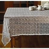 """Violet Linen Luxurious Crochet Classic Vintage Tablecloths, 60"""" x 120"""", White"""
