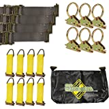 "E-Track TieDown Kit! Four 2"" x16' Ratchet Straps, Eight TieOffs, SIX O Rings, ONE Etrack Bag. Ideal TieDown Accessories Bundle for Trucks, Warehouses, Docks, Trailers, Boats. E-Track NOT Included."
