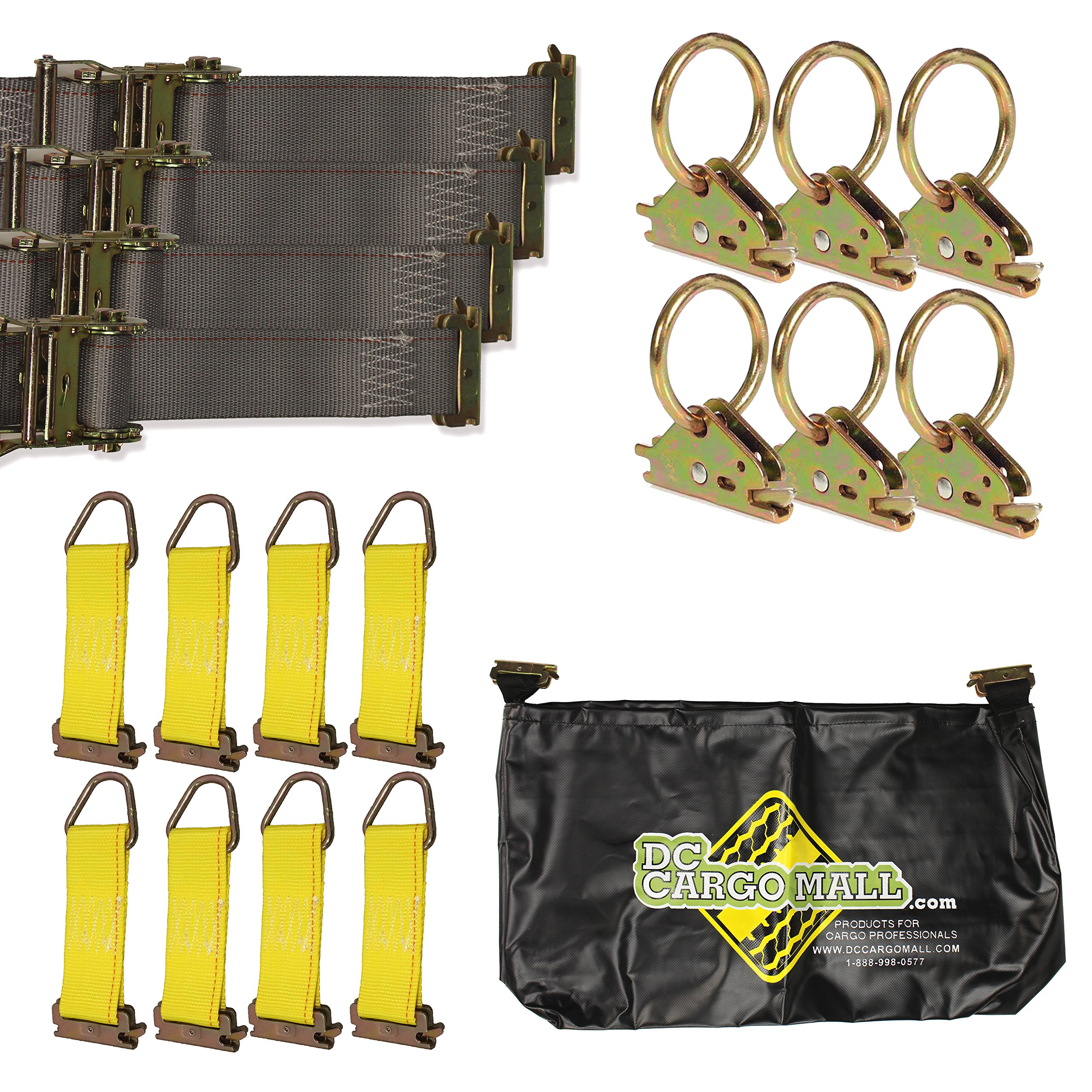 E-Track TieDown Kit! FOUR 2''x16' Ratchet Straps, EIGHT TieOffs, SIX O Rings, ONE Etrack Bag. Ideal TieDown Accessories Bundle for Trucks, Warehouses, Docks, Trailers, Boats. E-track NOT included. by DC Cargo Mall (Image #1)