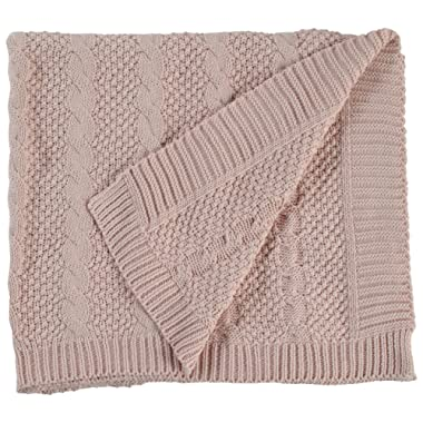 Stone & Beam Transitional Chunky Cable Knit Throw, 70  x 40 , Blush