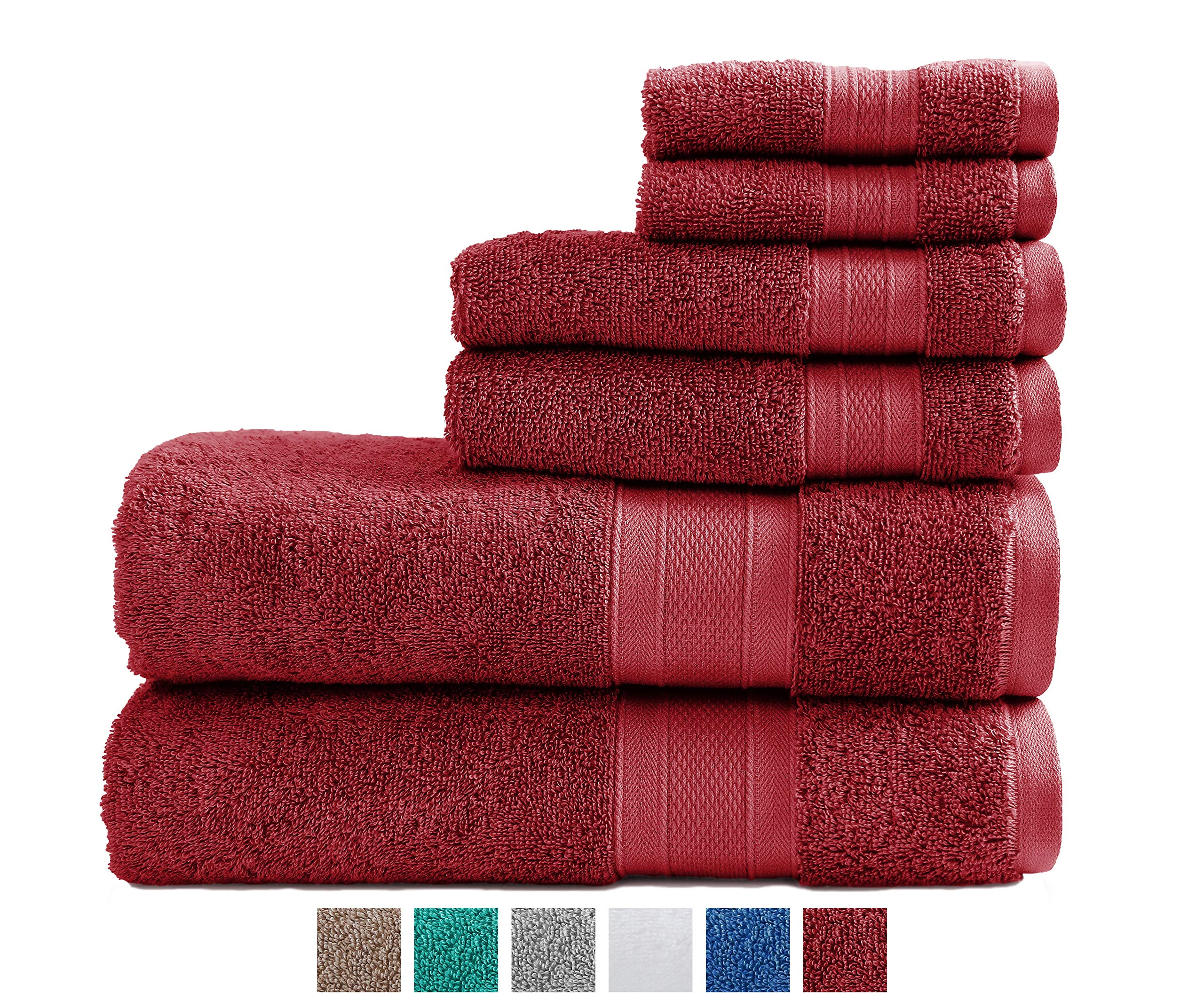 TRIDENT 100% Cotton Towels, 6 Piece Set - 2 Bath Towels, 2 Hand Towels, 2 Washcloths, Super Soft and Highly Absorbent, Soft & Plush Bath Towels, 14 lbs/dzn (RED)
