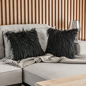 Kevin Textile Pack of 2 Decorative New Luxury Series Style Black Faux Fur Throw Pillow Case Cushion Cover for Sofa Bedroom Car 18 x 18 Inch 45 x 45 cm
