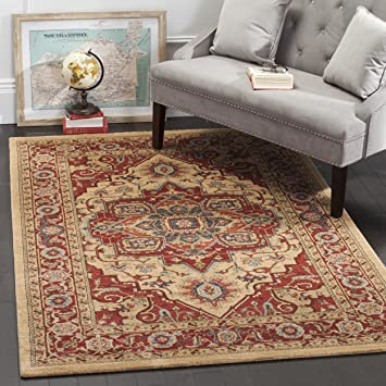 safavieh mahal collection mah698a traditional oriental red and natural area rug 9u0027 x 12 - Natural Area Rugs