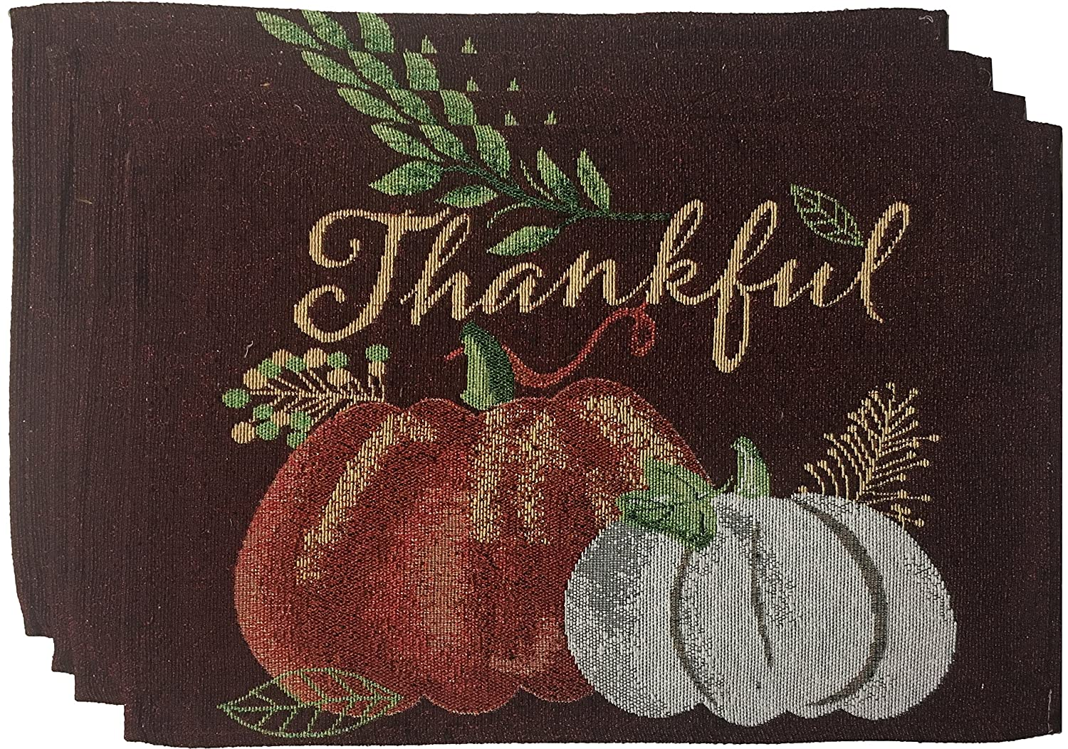 Nidico Set of 4, Printed Decorative Fall/Halloween/Thanksgiving Collection Tapestry Placemats Size : 13 x 19. (Design A) Cotton Konnection 181-P