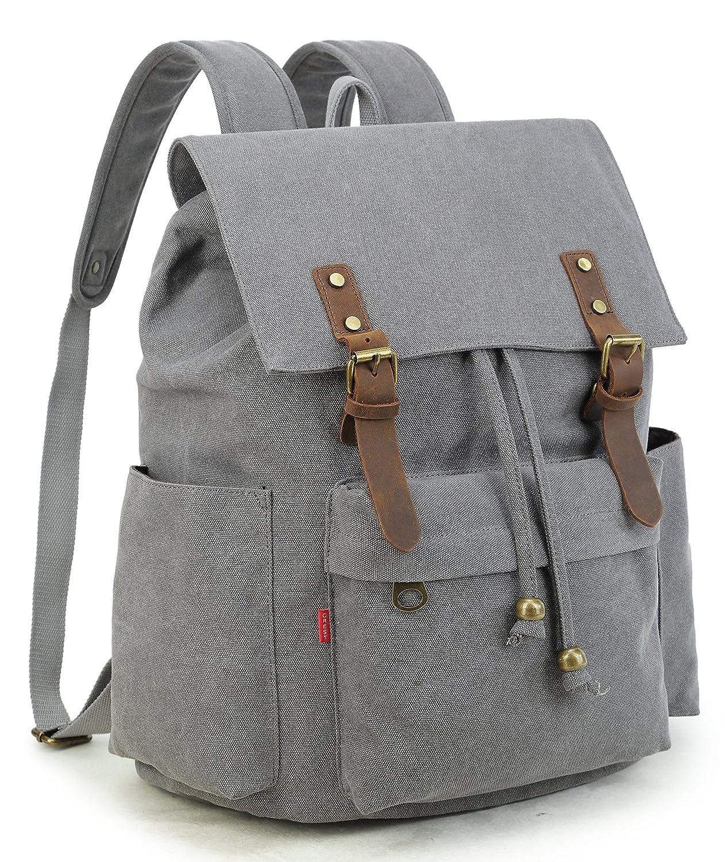 f105d8303 low-cost Crest Design Vintage Canvas Laptop Backpack School Bag Hiking  Travel Rucksack 25L (