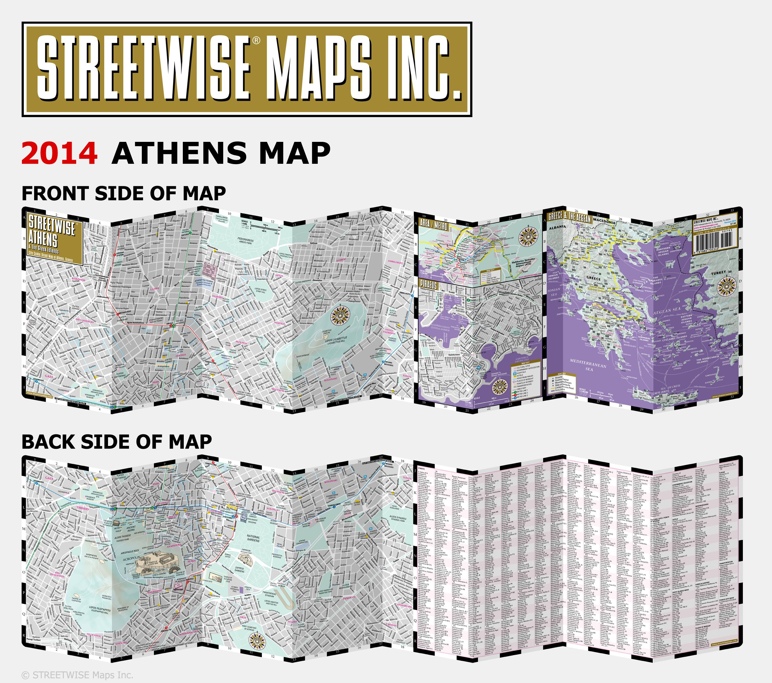 streetwise athens map laminated city center street map of athens greece folding pocket size travel map with metro map