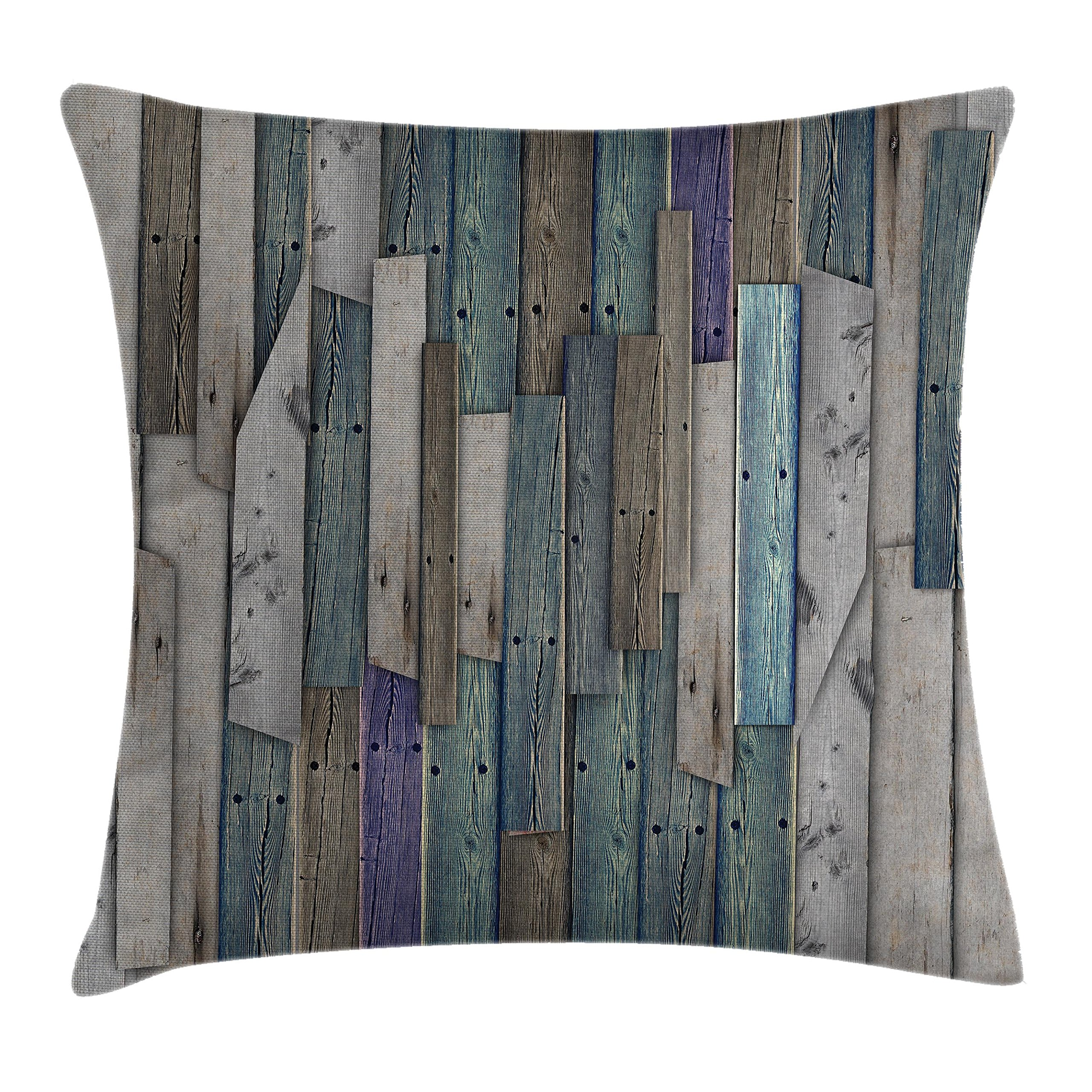 Ambesonne Wooden Throw Pillow Cushion Cover, Blue Grey Grunge Rustic Planks Barn House Wood and Nails Lodge Hardwood Graphic Print, Decorative Square Accent Pillow Case, 18 X18 inches, Gray Blue by Ambesonne (Image #1)