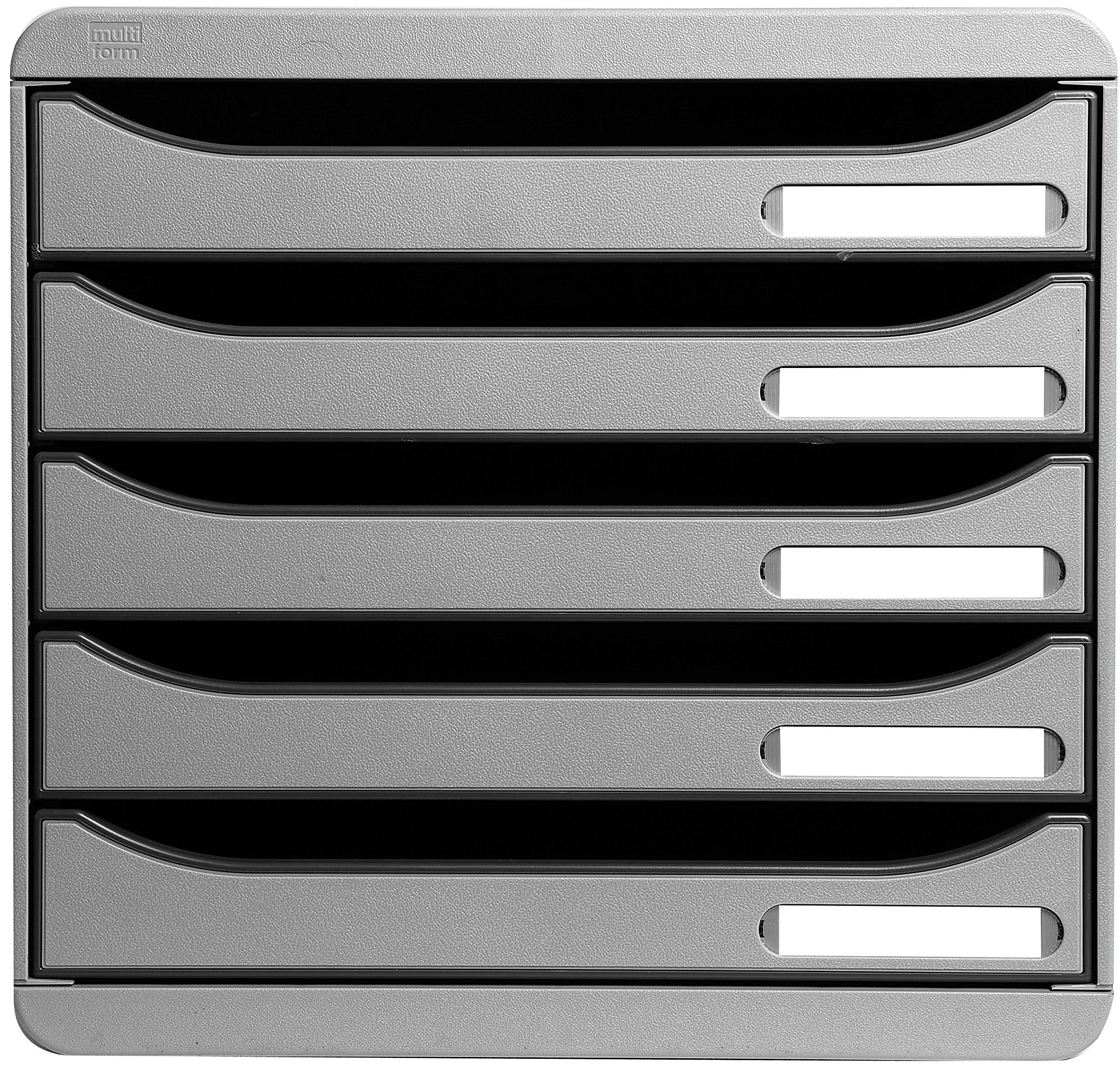 Multiform Big Box Plus Drawer Set Plastic 5 Drawers each H43mm A4plus Light Grey Ref 309740D by Multiform