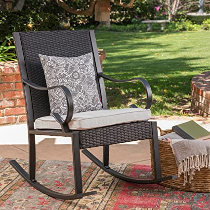 Charmant Great Deal Furniture Muriel Outdoor Wicker Rocking Chair With Cushion, Black  And White