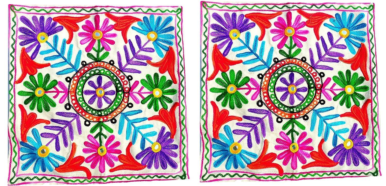 手作りウールスレッド刺繍プリントクッションカバーのセット2 – スロー枕カバーコットン生地Indian Home Furnishing装飾16 x 16 inch-up-cc011   B01MRMSS0W