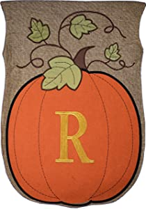 JEC Home Garden Flag Monogram Fall Pumpkin Burlap Autumn Garden Flag 12.5 x 18 (R)
