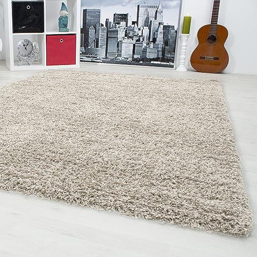 tappeto per per soggiorno, Sala da pranzo o camera per gli ospitihochflor  shaggy monocromatico tappeto 3 cm 1500, dimensione:80x150 cm, Colore:Beige