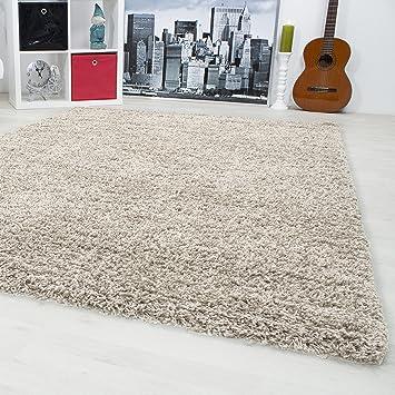 Teppich wohnzimmer  Hochflor Shaggy Teppich Langflor Carpet Wohnzimmer einfarbig ...
