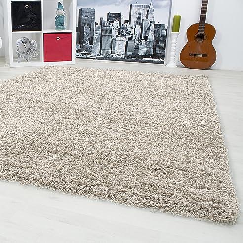 hochflor shaggy teppich langflor carpet wohnzimmer einfarbig ... - Hochflor Teppich Wohnzimmer