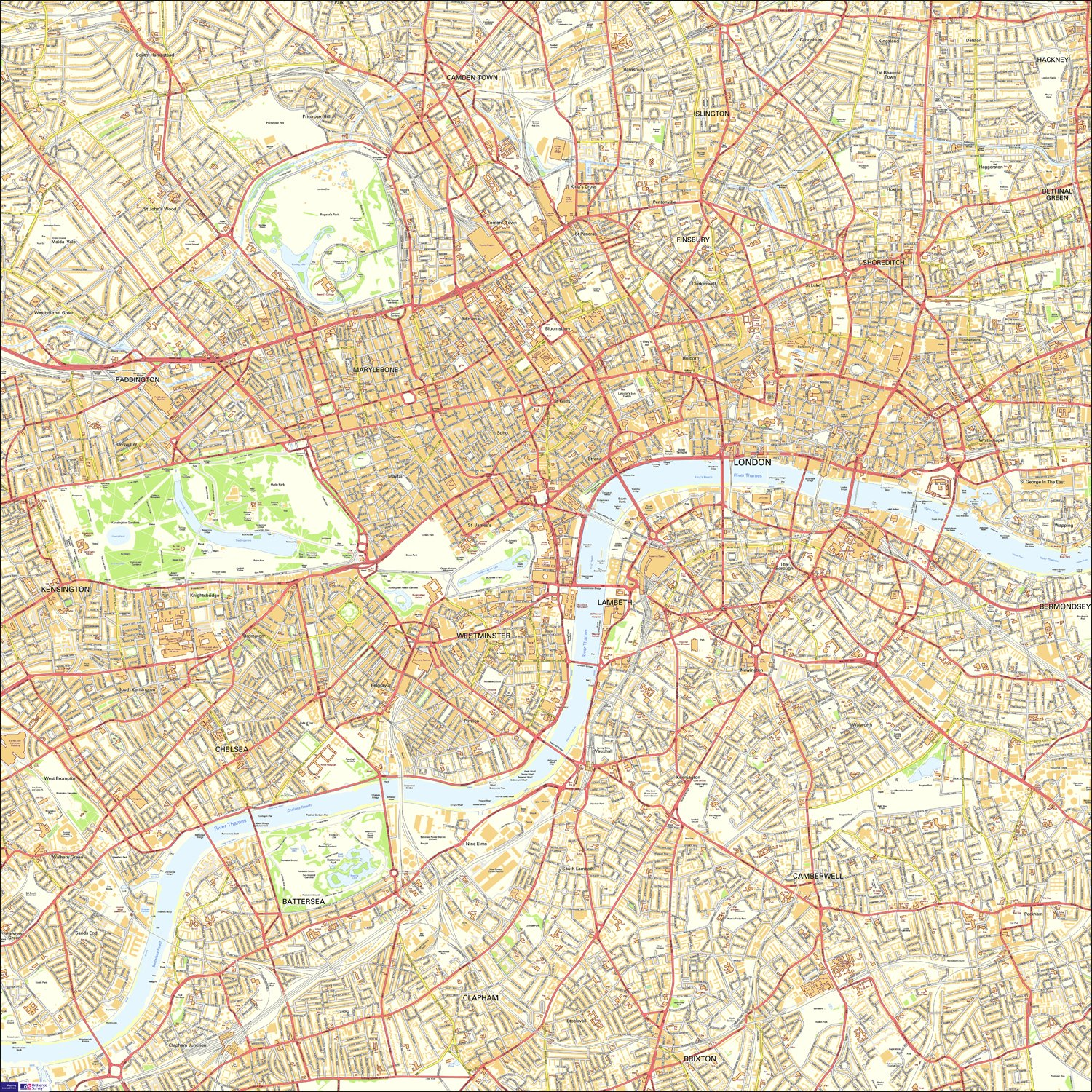 Central London Street Map.Large Central London Street Map 100 X 100 Cm Printed On Durable Vinyl